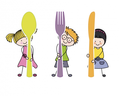 Icon with three little children keeping a fork a spoon or a knife.