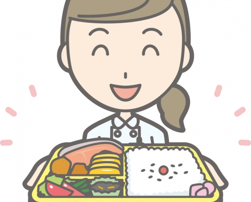 Illustration that a nurse wearing a white suit has a box lunch