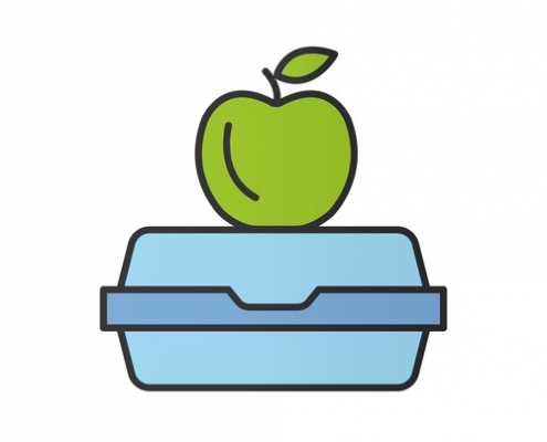 Lunchbox color icon. Apple on lunch box.